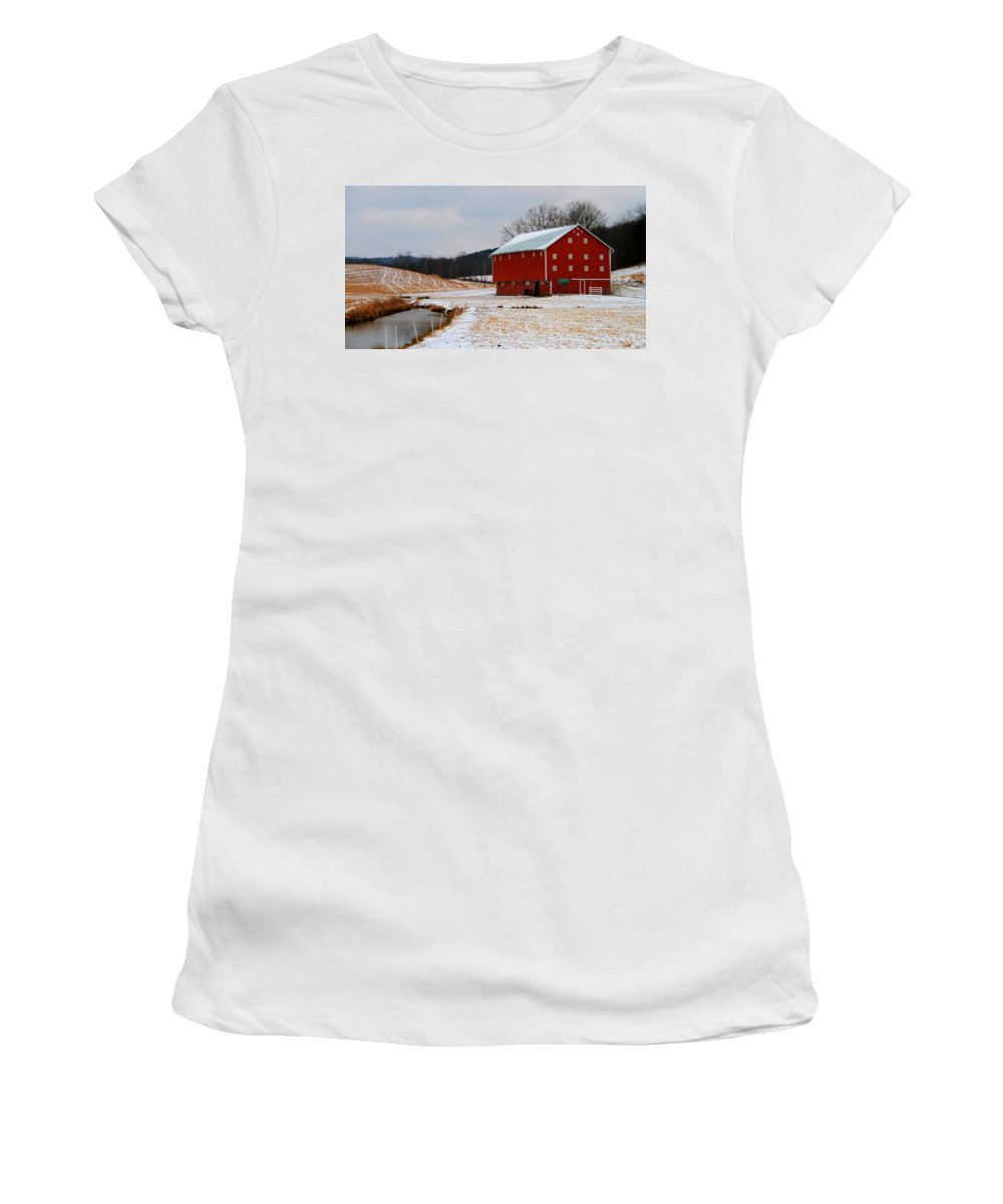 Barn In Berlin Ohio Women's T-Shirt (Athletic Fit) featuring the photograph Barn In Berlin Ohio by Dan Sproul