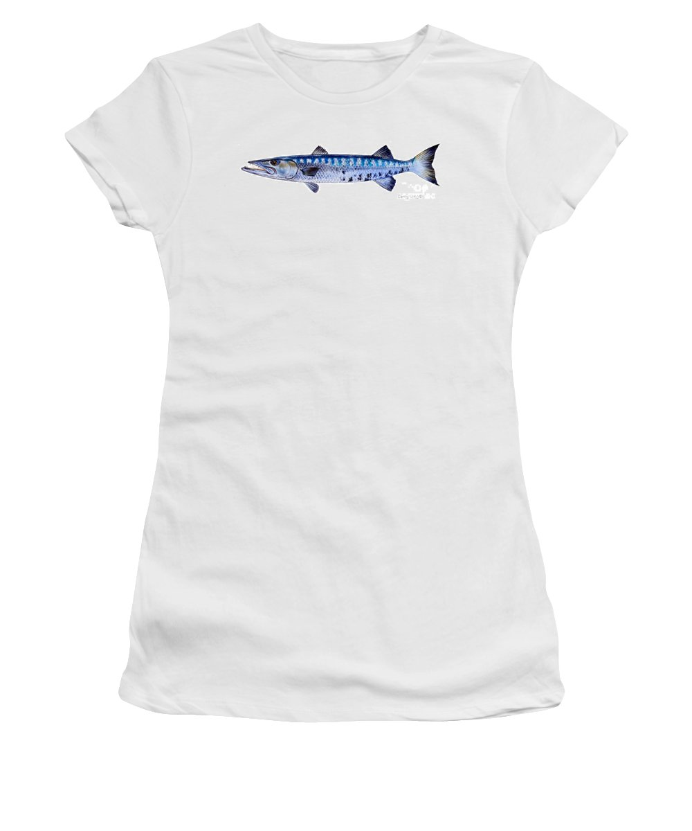 Barracuda Women's T-Shirt featuring the painting Barracuda by Carey Chen