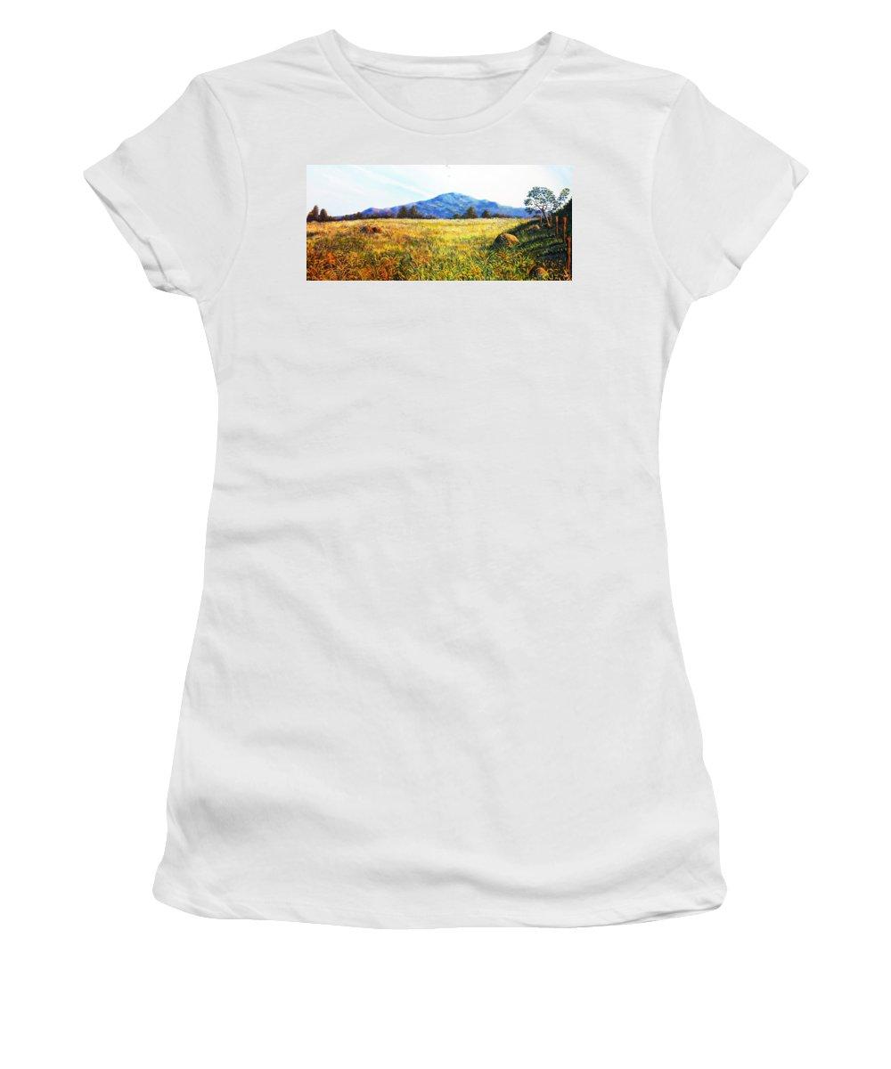 Landscape Women's T-Shirt (Athletic Fit) featuring the painting Baru Descansa by Ricardo Sanchez Beitia