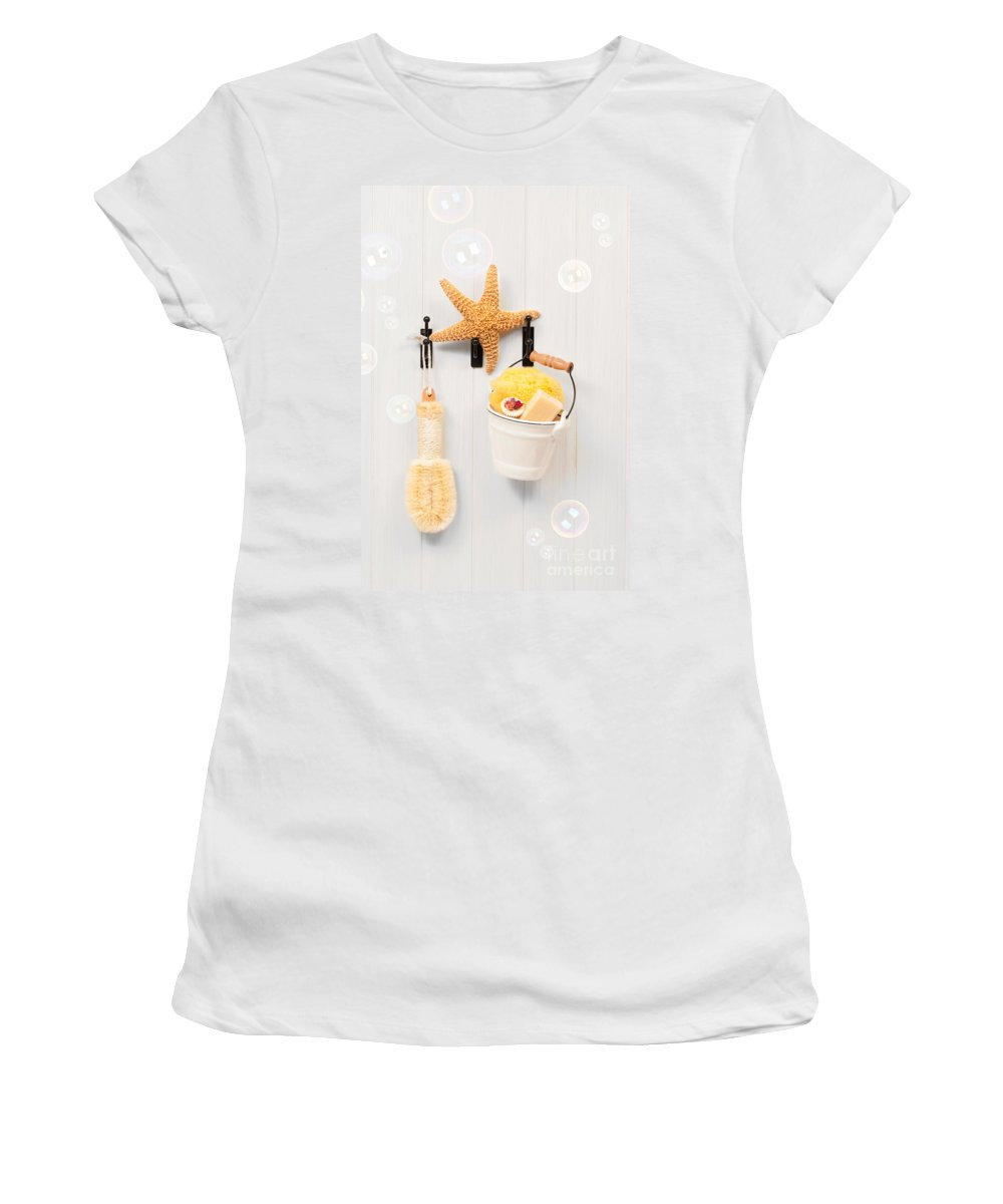 White Women's T-Shirt featuring the photograph Bathroom Door by Amanda Elwell