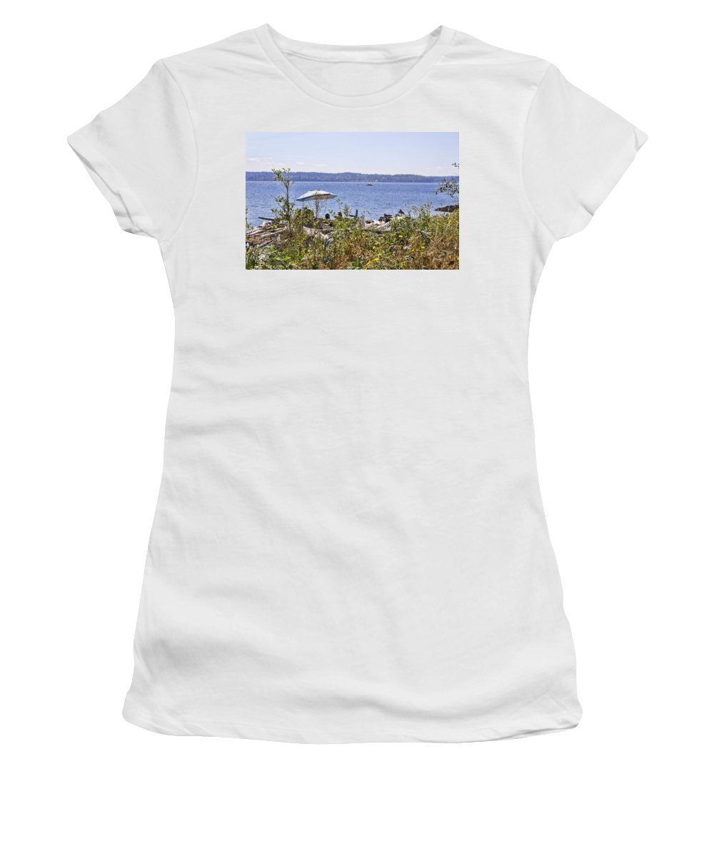Women's T-Shirt featuring the photograph Beach At Maury Island by Cathy Anderson