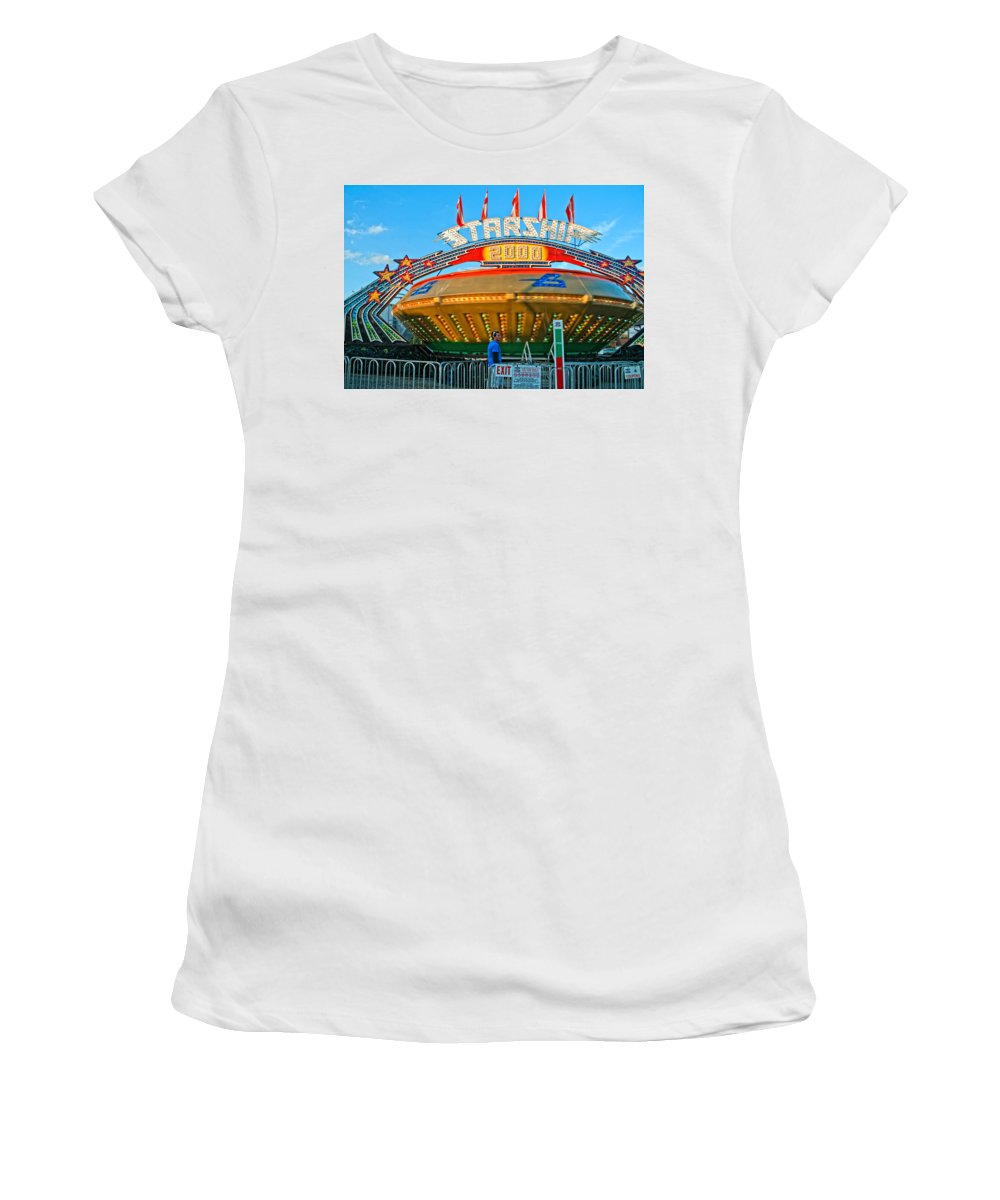 Bolton Fall Fair Women's T-Shirt (Athletic Fit) featuring the photograph Beam Me Up Scotty by Steve Harrington