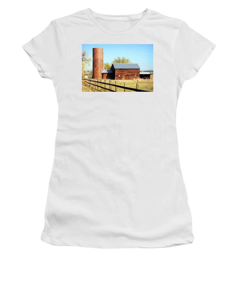 Americana Women's T-Shirt (Athletic Fit) featuring the photograph Beautiful Brick Silo by Marilyn Hunt