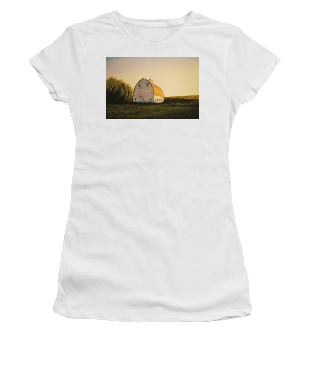 Landscape Women's T-Shirt (Athletic Fit) featuring the painting Becker Barn by Leonard Heid
