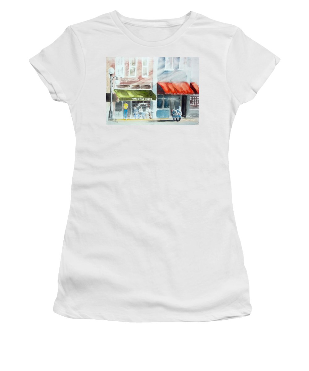 Street Women's T-Shirt featuring the painting beginning of the day at TECUMSEH MI by Yoshiko Mishina