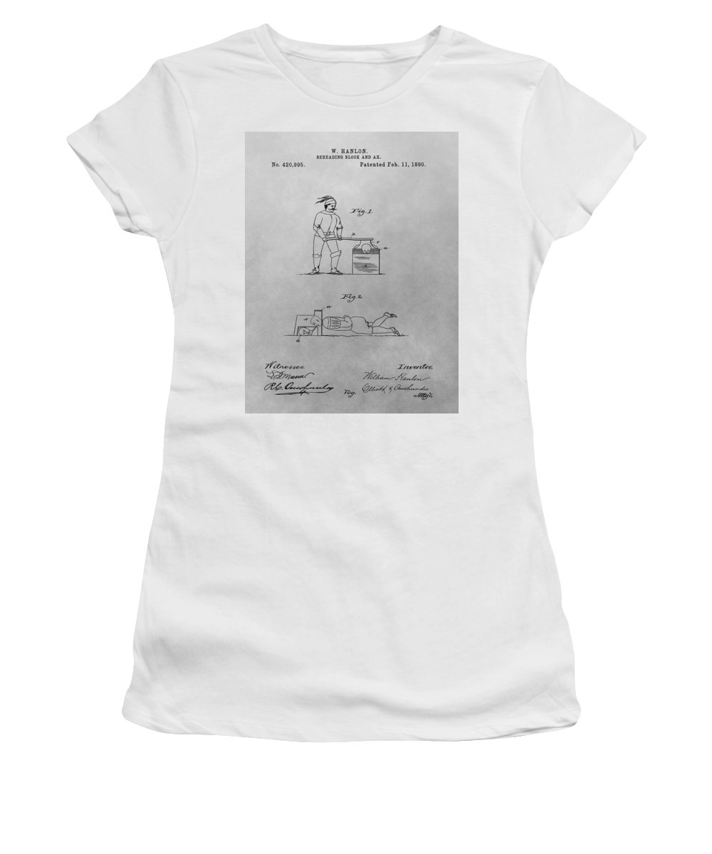 Beheading Block Patent Women's T-Shirt (Athletic Fit) featuring the drawing Beheading Block And Axe by Dan Sproul