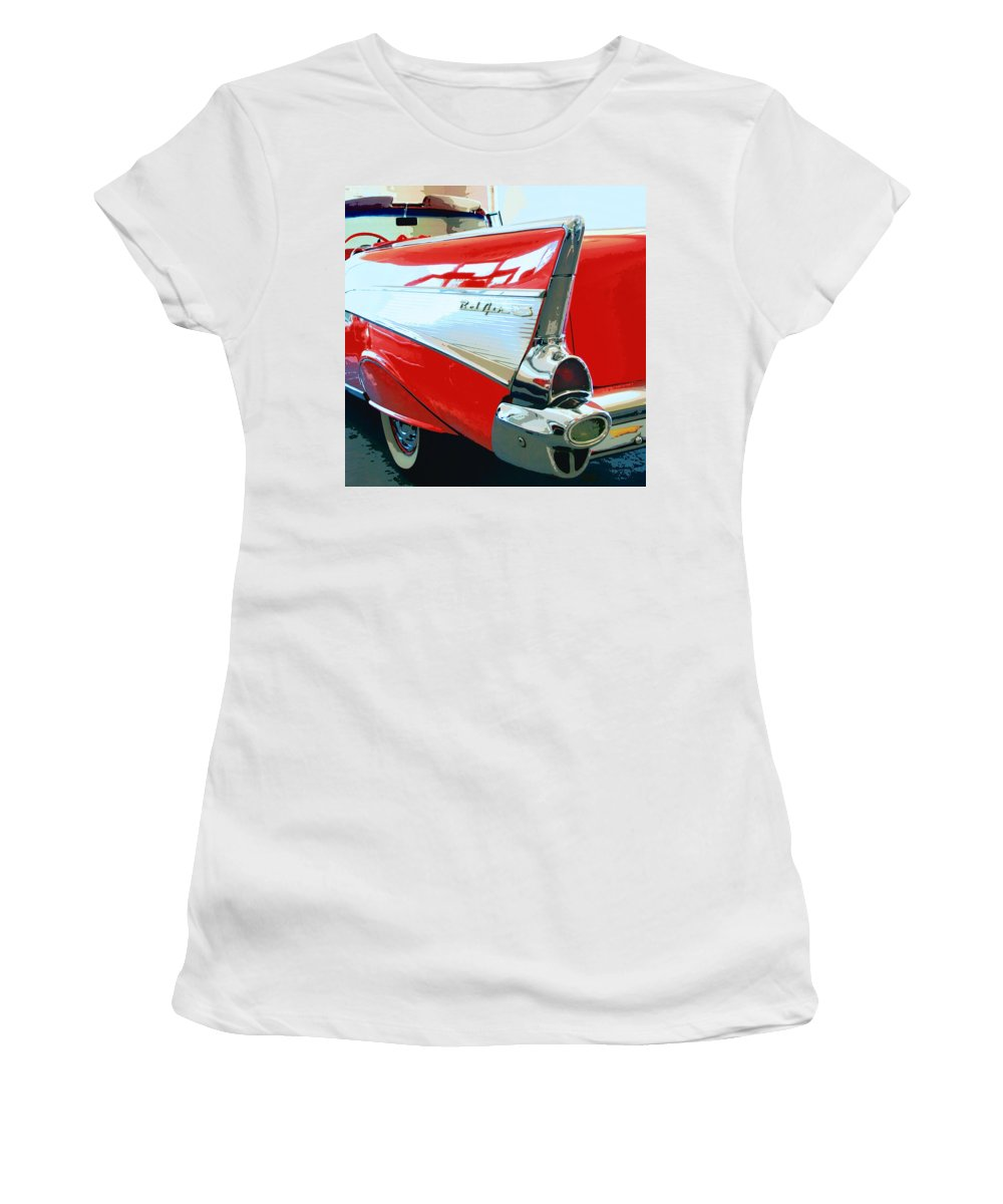 Vintage Cars Women's T-Shirt (Athletic Fit) featuring the photograph Bel Air Palm Springs by William Dey