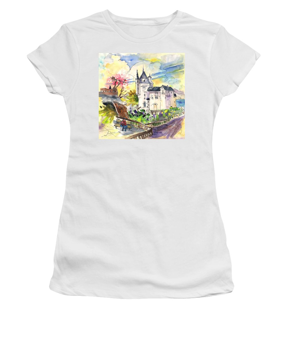 Travel Women's T-Shirt (Athletic Fit) featuring the painting Biarritz 01 by Miki De Goodaboom