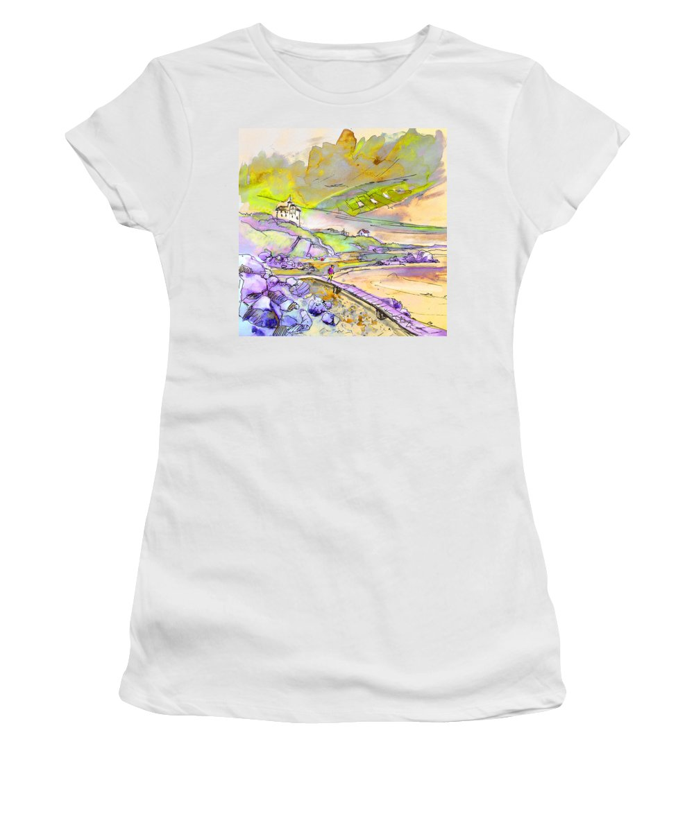Travel Women's T-Shirt (Athletic Fit) featuring the painting Biarritz 24 by Miki De Goodaboom