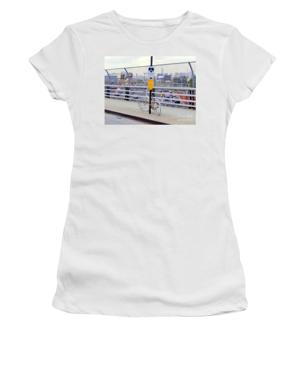Nyc Women's T-Shirt featuring the photograph Bicycle Memorial by Ed Weidman