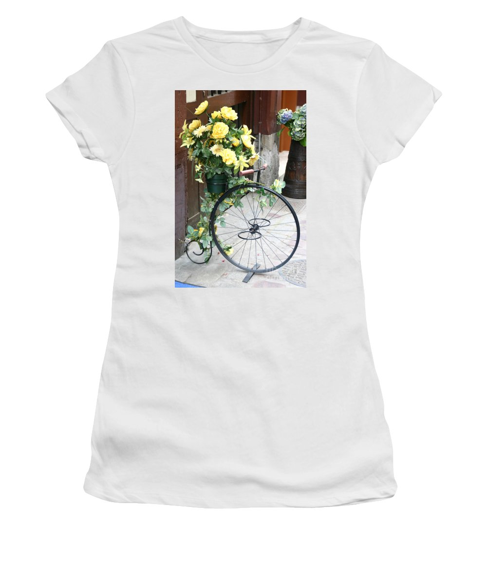 Honfleur Women's T-Shirt featuring the photograph Bicycle Plant Holder by Holly C. Freeman