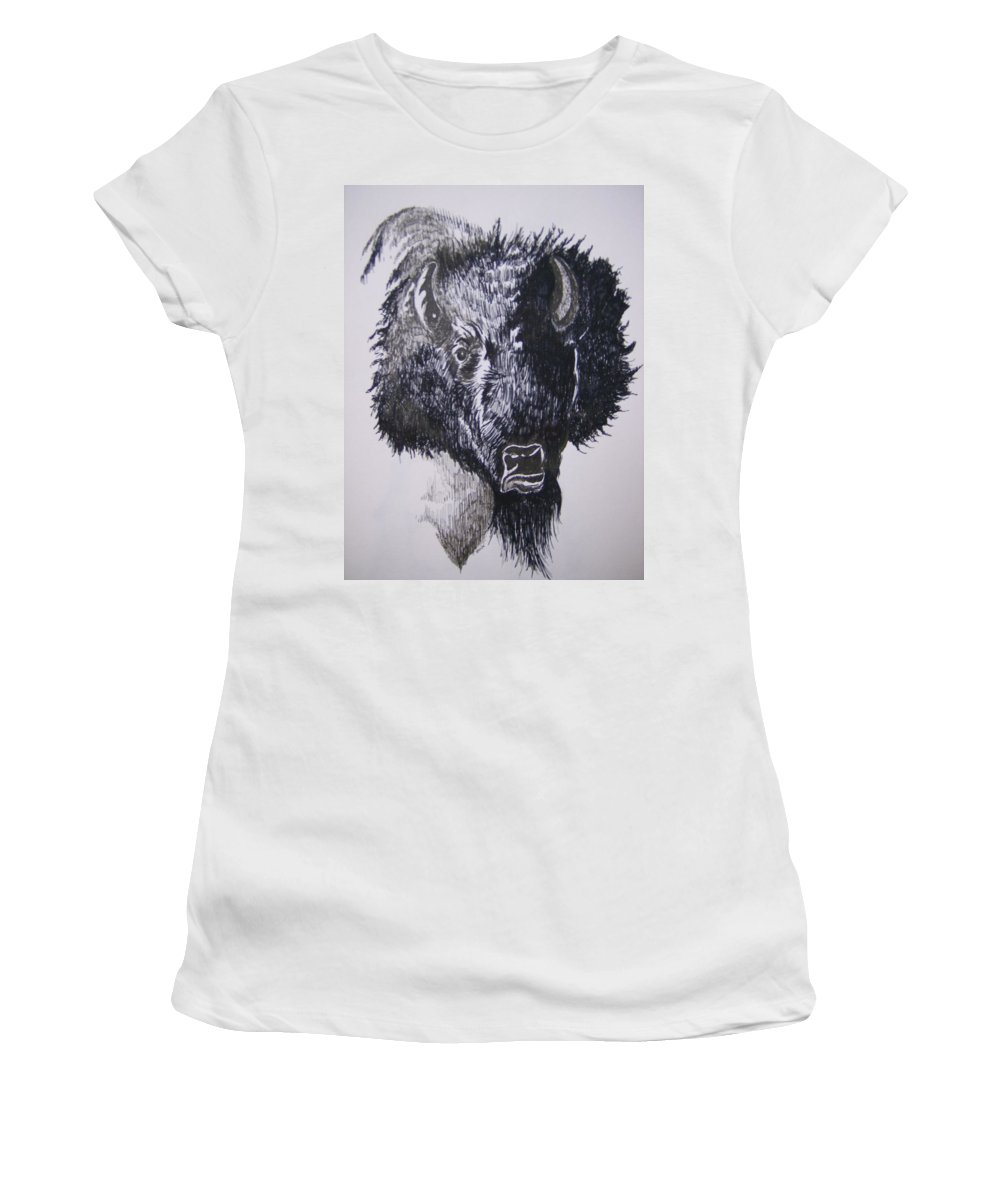 Buffalo Women's T-Shirt (Athletic Fit) featuring the drawing Big Bad Buffalo by Leslie Manley