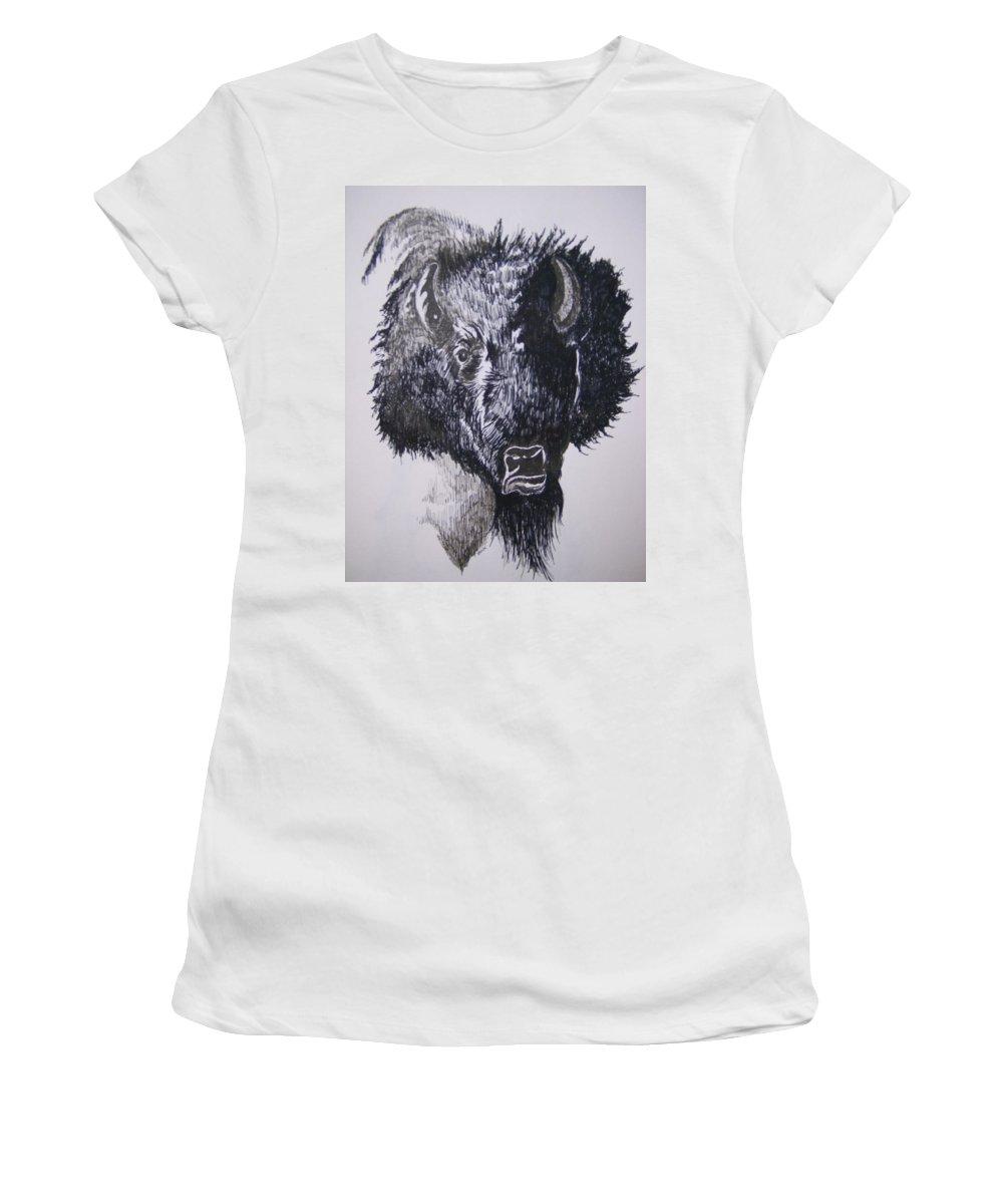 Buffalo Women's T-Shirt featuring the drawing Big Bad Buffalo by Leslie Manley