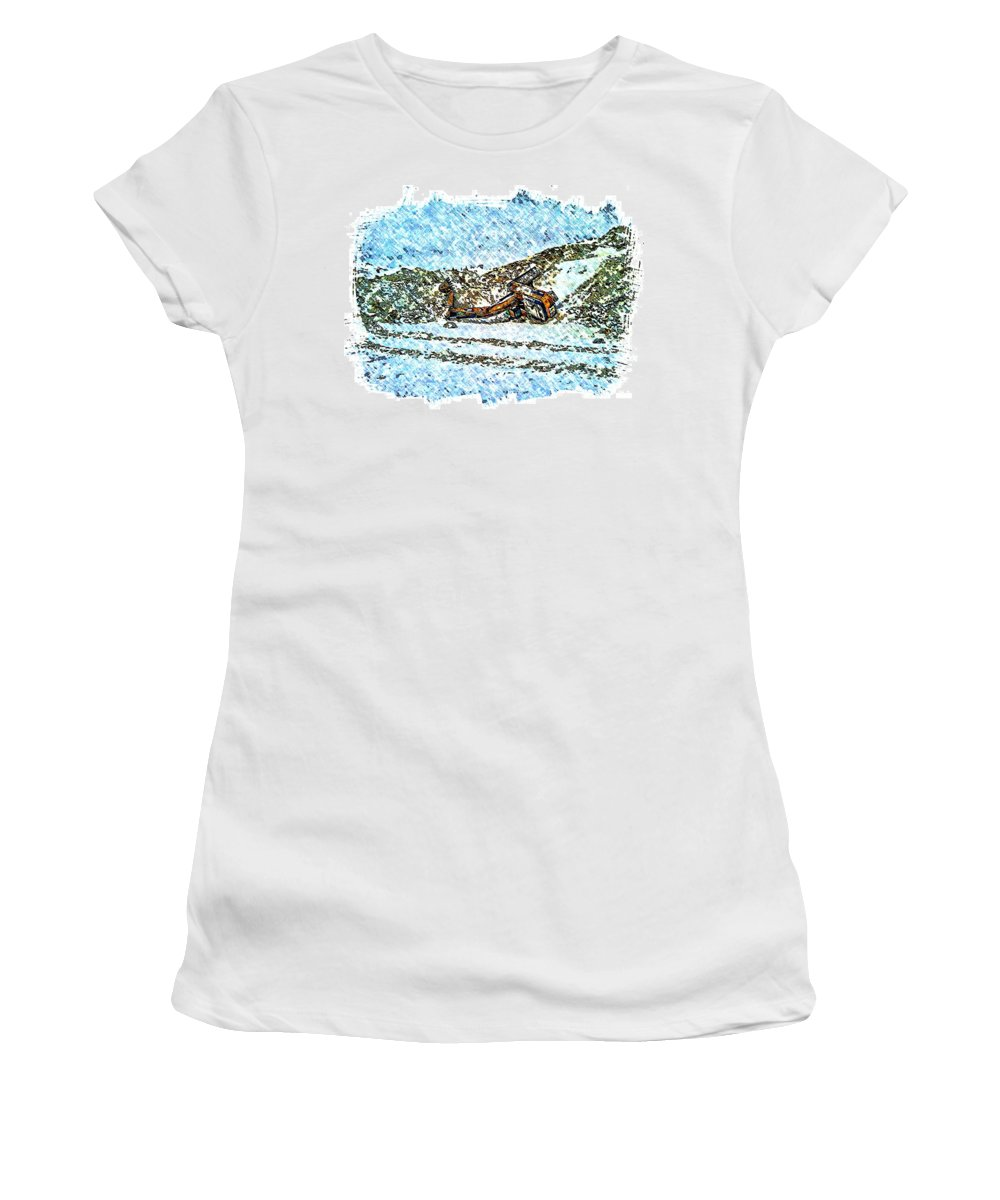 Big Cat Women's T-Shirt (Athletic Fit) featuring the photograph Big Cat - Sometimes They Fall - Winter - Snow - Slippery Slope by Barbara Griffin