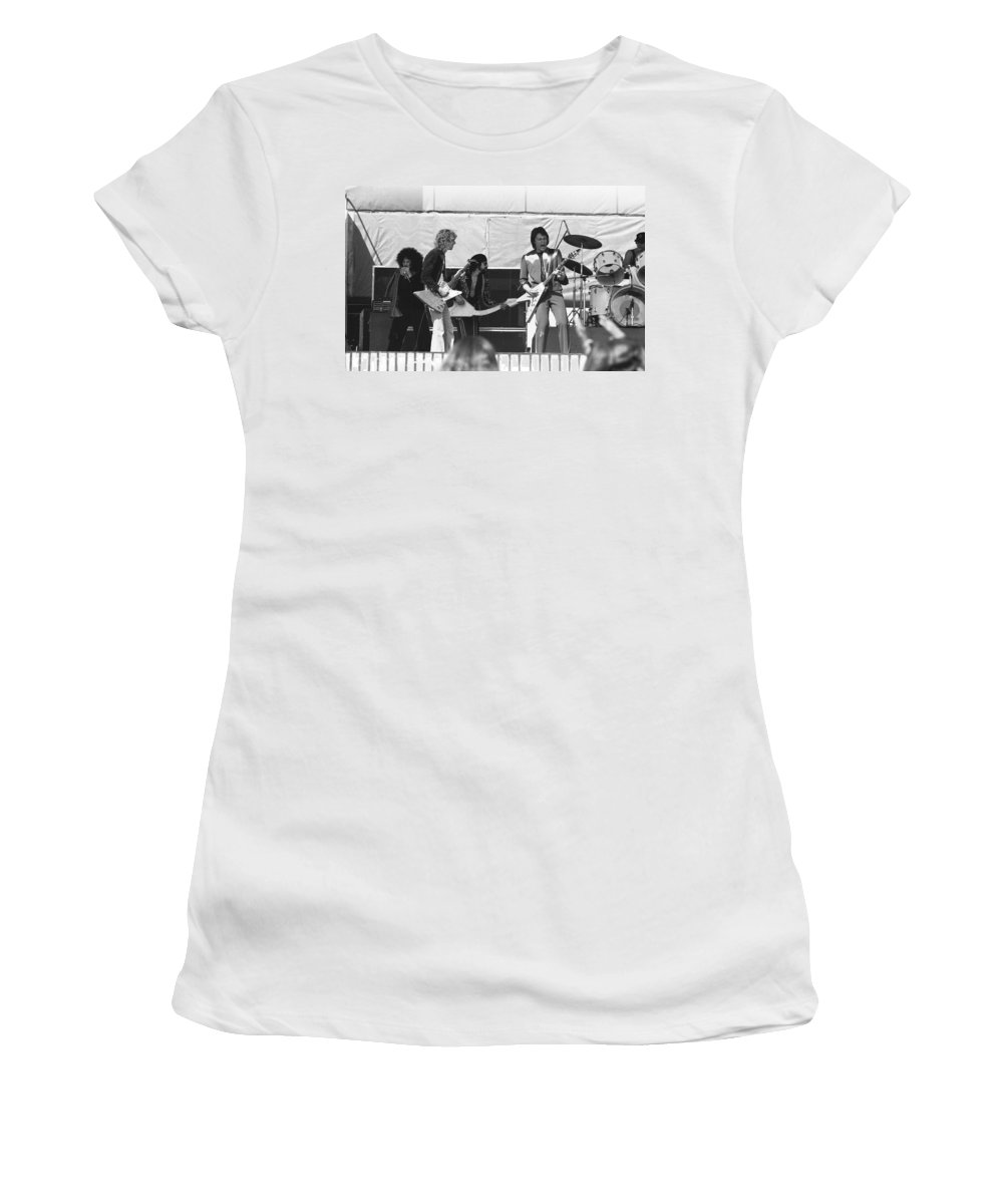 Peter Frampton Women's T-Shirt (Athletic Fit) featuring the photograph Big Jam At Day On The Green 1976 by Ben Upham