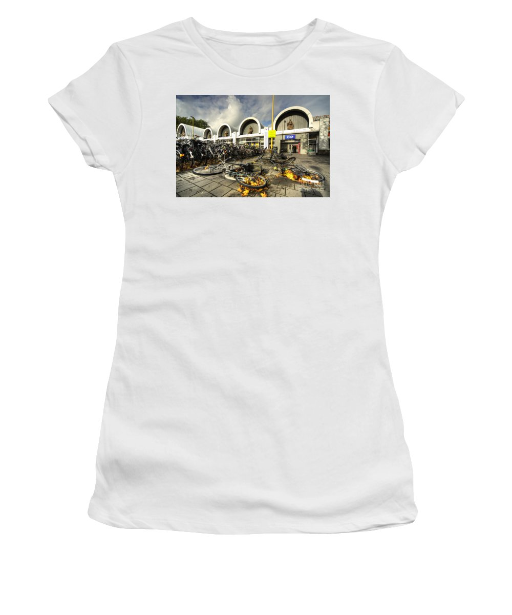 Gouda Women's T-Shirt (Athletic Fit) featuring the photograph Bikes After The Storm by Rob Hawkins