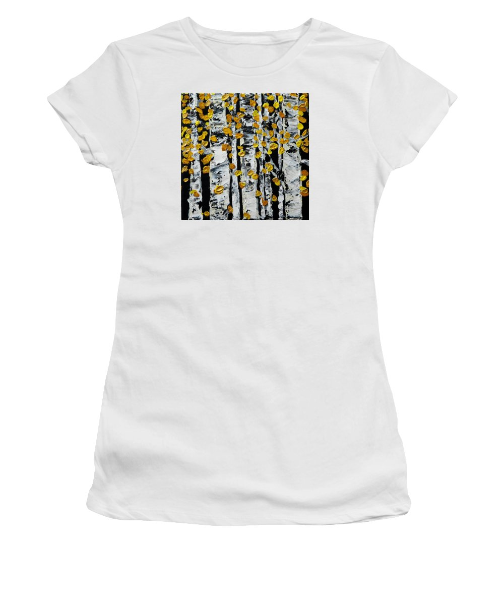 Birch Women's T-Shirt (Athletic Fit) featuring the painting Birch Study Fall by Valerie Ornstein