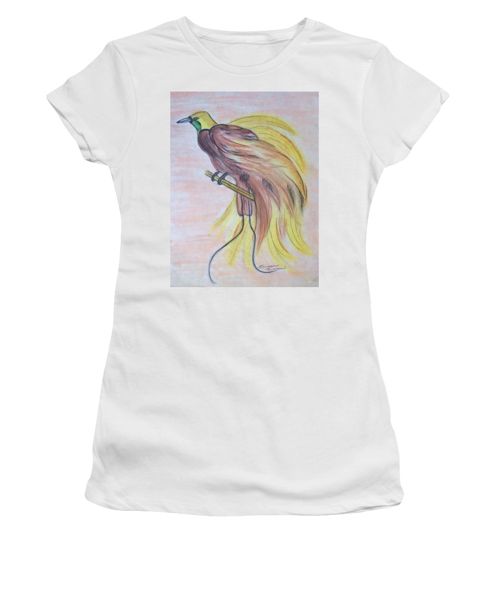 Bird Women's T-Shirt featuring the drawing Bird Of Paradise by Susan Turner Soulis