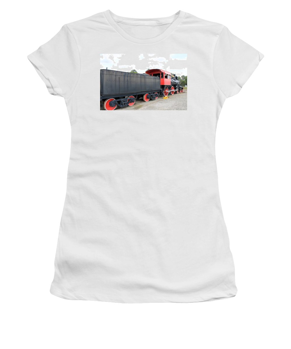 Black And Red Women's T-Shirt (Athletic Fit) featuring the photograph Black And Red Steam Engine by Mary Koval