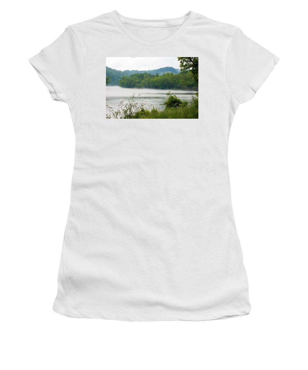 Blanket Of Fog On Clinch River Women's T-Shirt (Athletic Fit) featuring the photograph Blanket Of Fog On Clinch River by Cynthia Woods
