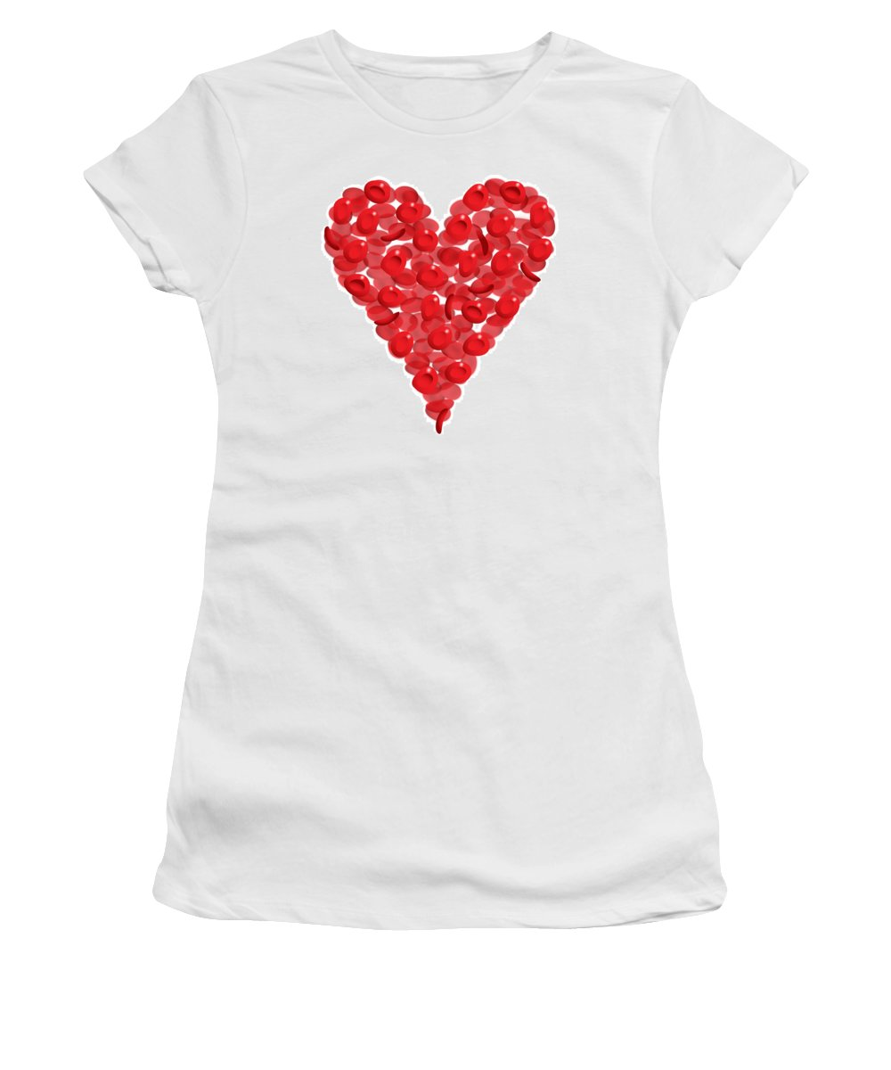Heart Valentine Valentines Love Women's T-Shirt (Athletic Fit) featuring the digital art Blood Cells Heart by Thisis Notme