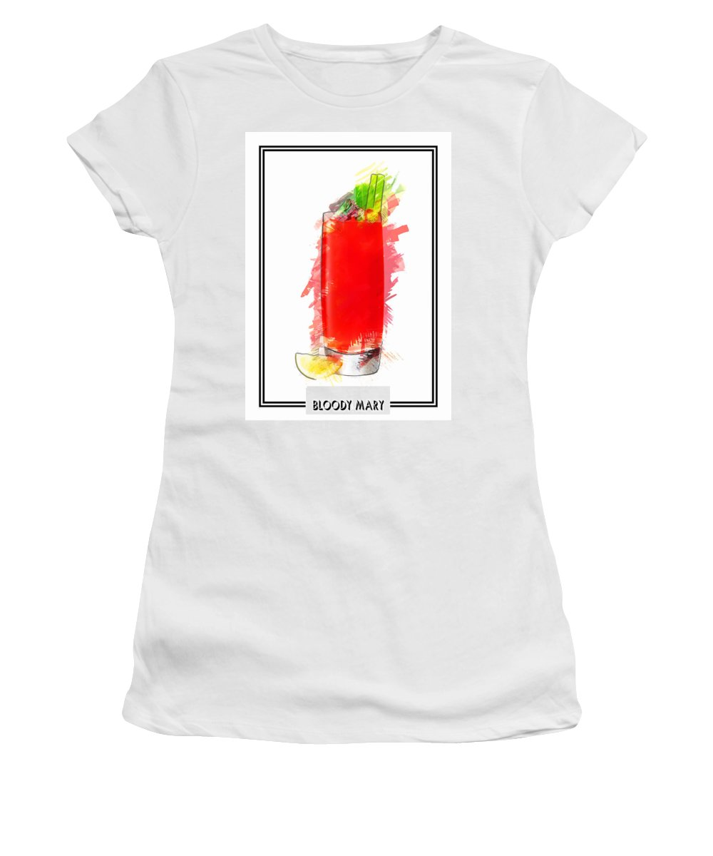 Drink Women's T-Shirt featuring the painting Bloody Mary Cocktail Marker Sketch by Elaine Plesser