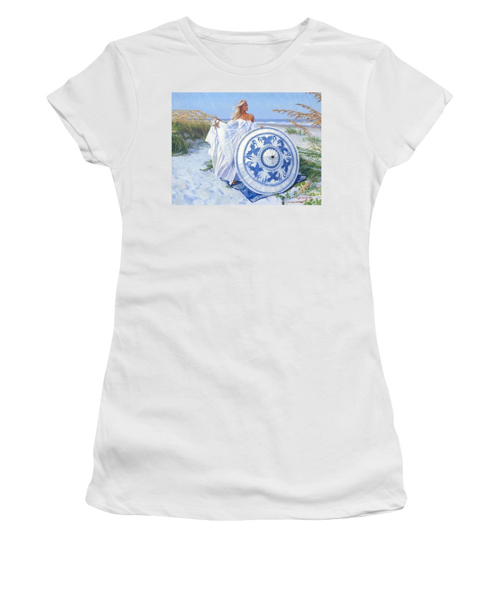 Fair Woman Women's T-Shirt (Athletic Fit) featuring the painting Blue Berry Beach by Candace Lovely