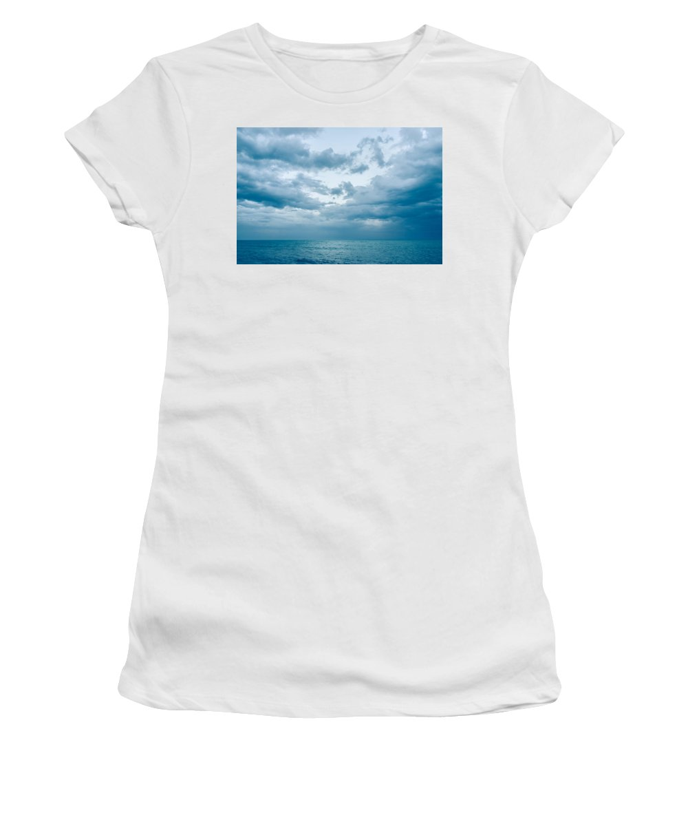 Sky Women's T-Shirt (Athletic Fit) featuring the photograph Blue Waves by Andrea Mazzocchetti