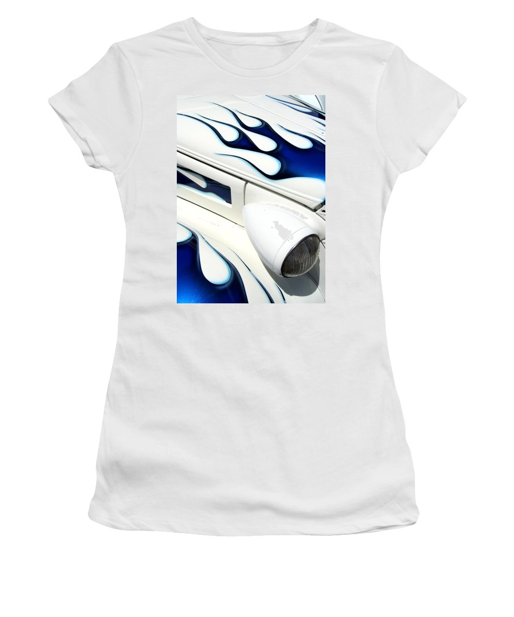 Hot Rod Women's T-Shirt (Athletic Fit) featuring the photograph Blue Fire by Joe Kozlowski