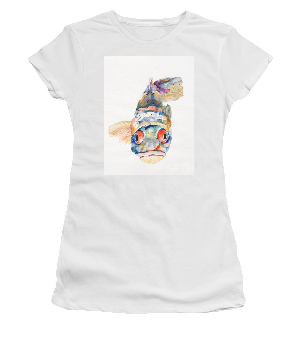Pat Saunders-white Women's T-Shirt (Athletic Fit) featuring the painting Blue Fish  by Pat Saunders-White