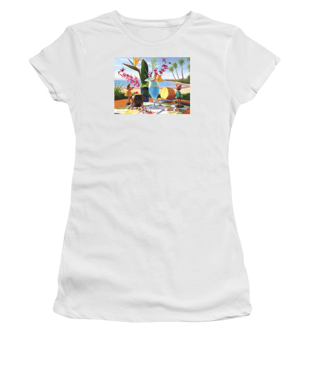 Blue Hawaiian Women's T-Shirt (Athletic Fit) featuring the painting Blue Hawaiian by Steve Simon