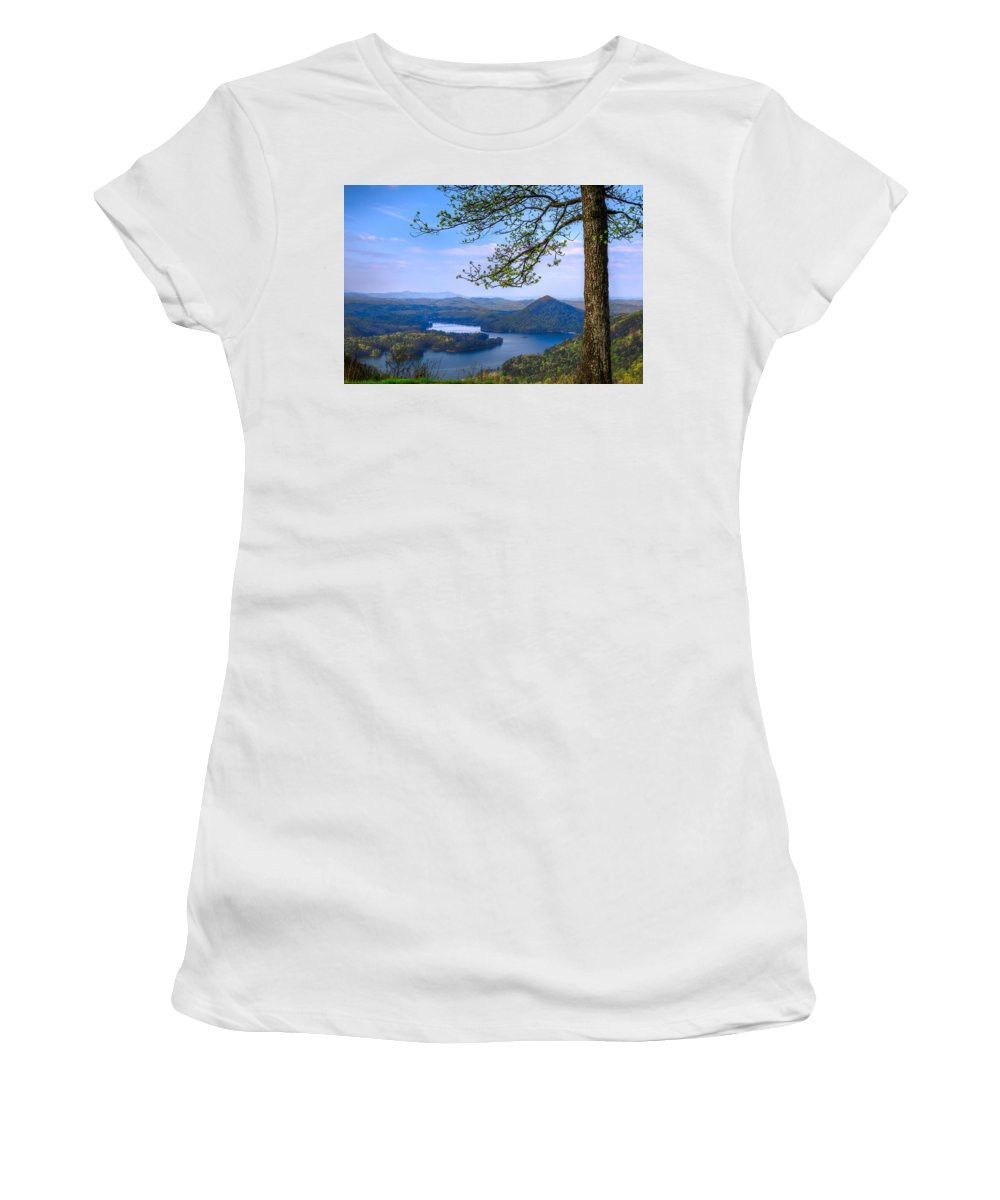 Appalachia Women's T-Shirt (Athletic Fit) featuring the photograph Blue Mountains by Debra and Dave Vanderlaan