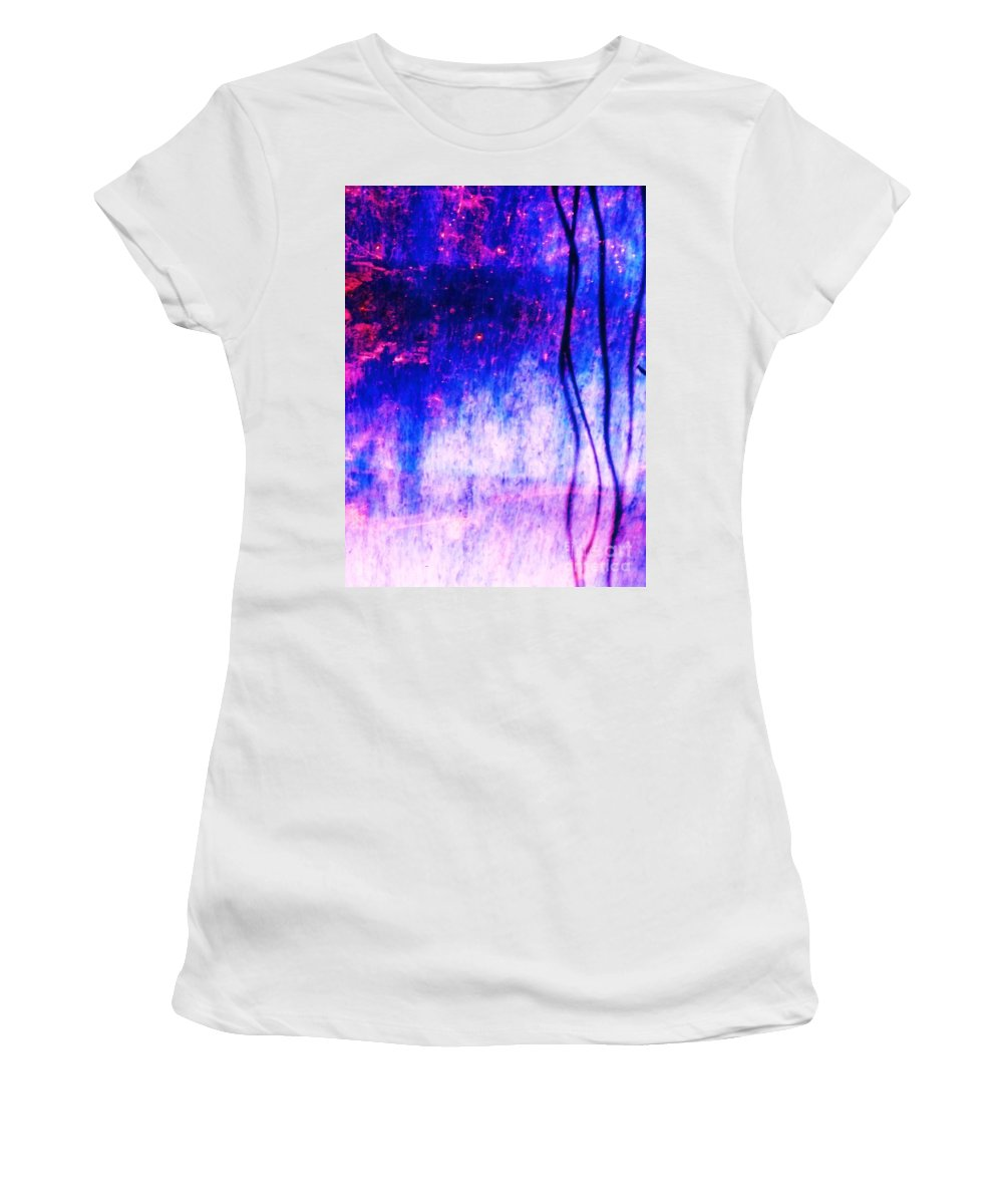 Blue Women's T-Shirt (Athletic Fit) featuring the photograph Blue Purple White Metal by Eric Schiabor