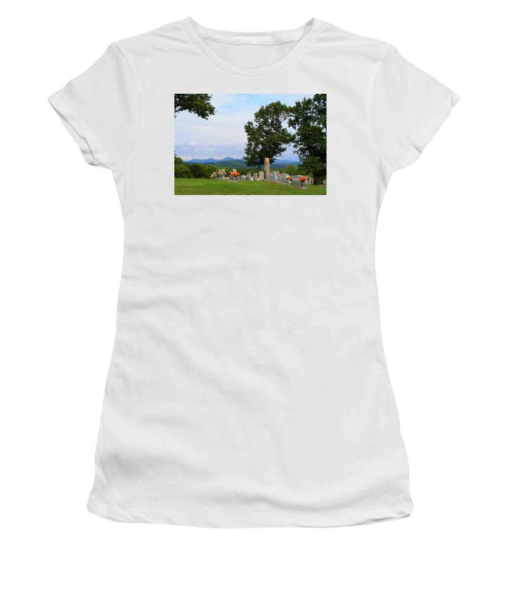 Blue Ridge Women's T-Shirt featuring the photograph Blue Ridge Mountain Cemetery by Kathryn Meyer