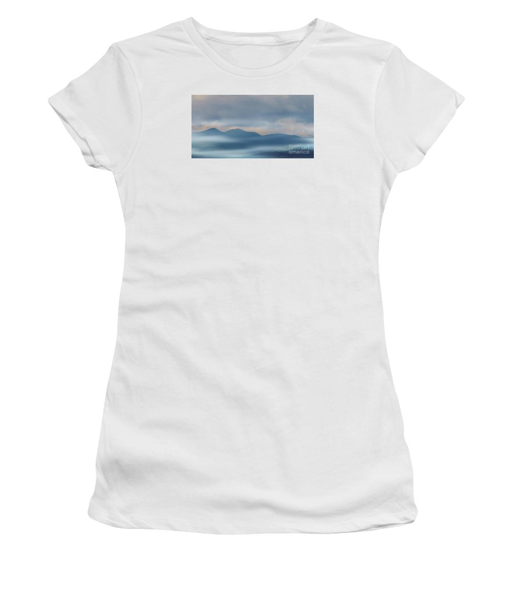 #blue Women's T-Shirt (Athletic Fit) featuring the photograph Blue Ridge Mountains by Kathleen Struckle