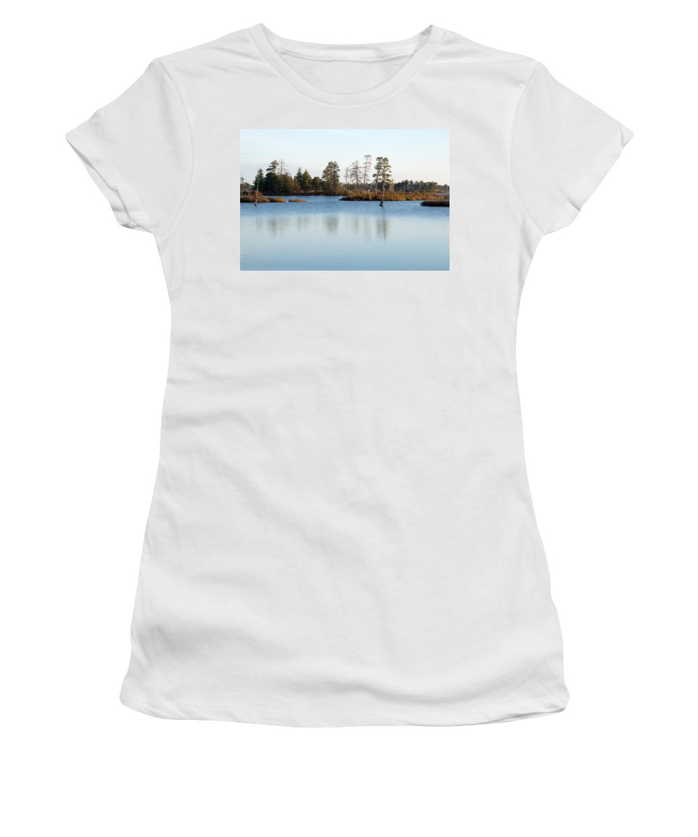 Wetland Women's T-Shirt (Athletic Fit) featuring the photograph Blue Shades by Linda Kerkau