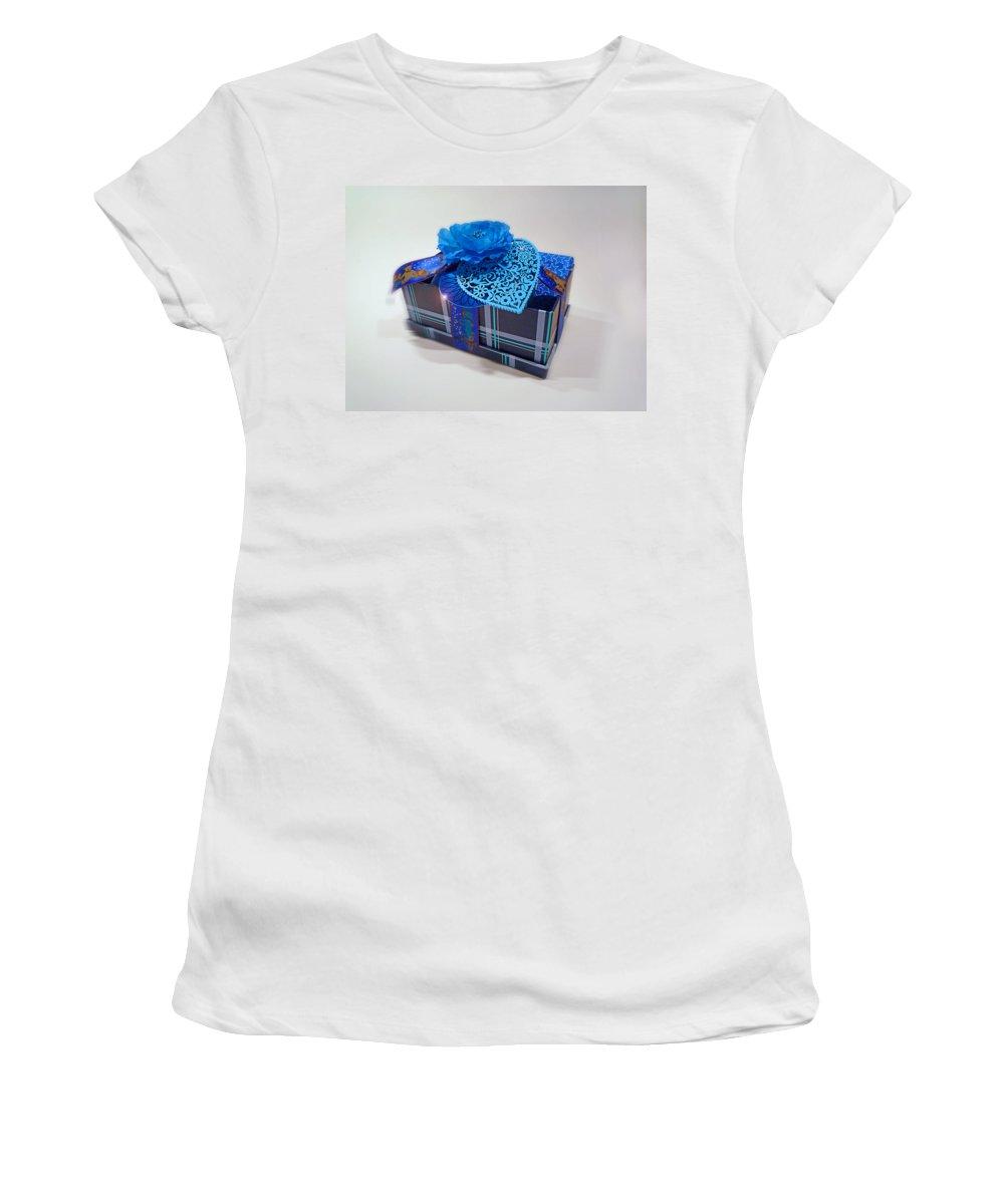 Christmas Women's T-Shirt featuring the digital art Blue Valentine by Charles Stuart