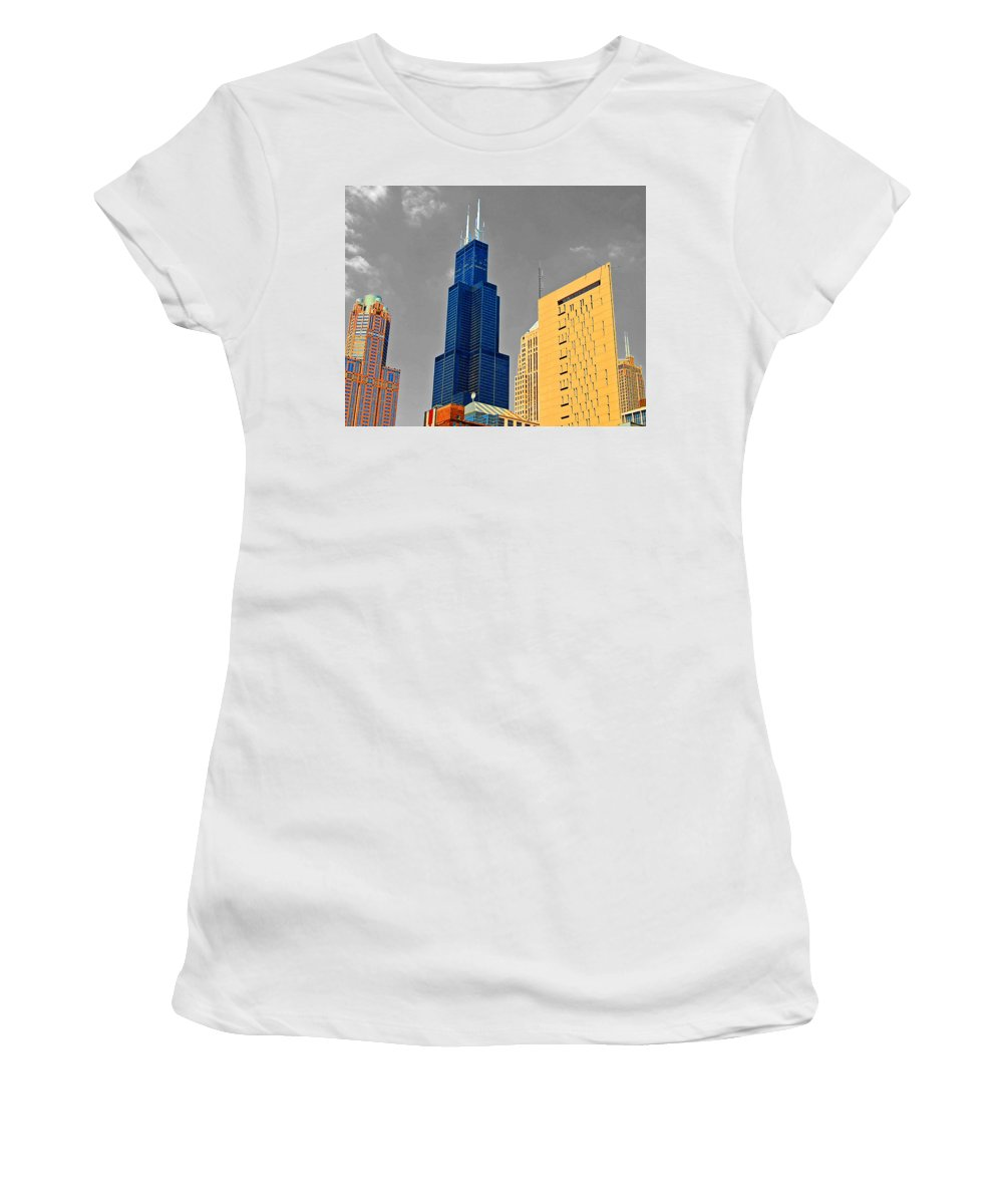 Willis Tower Women's T-Shirt (Athletic Fit) featuring the photograph Blue Willis by Rick Selin