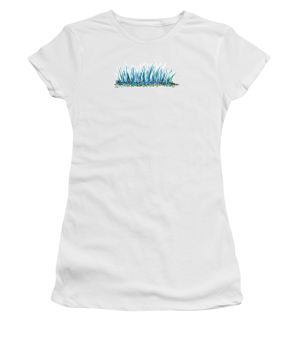 Contemporary Women's T-Shirt (Athletic Fit) featuring the painting Bluegrass by Bjorn Sjogren