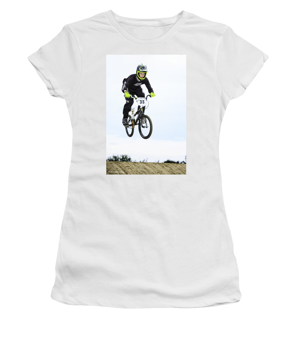 Bmx Women's T-Shirt featuring the photograph Bmx Racer Goes Airborne by Fran Gallogly