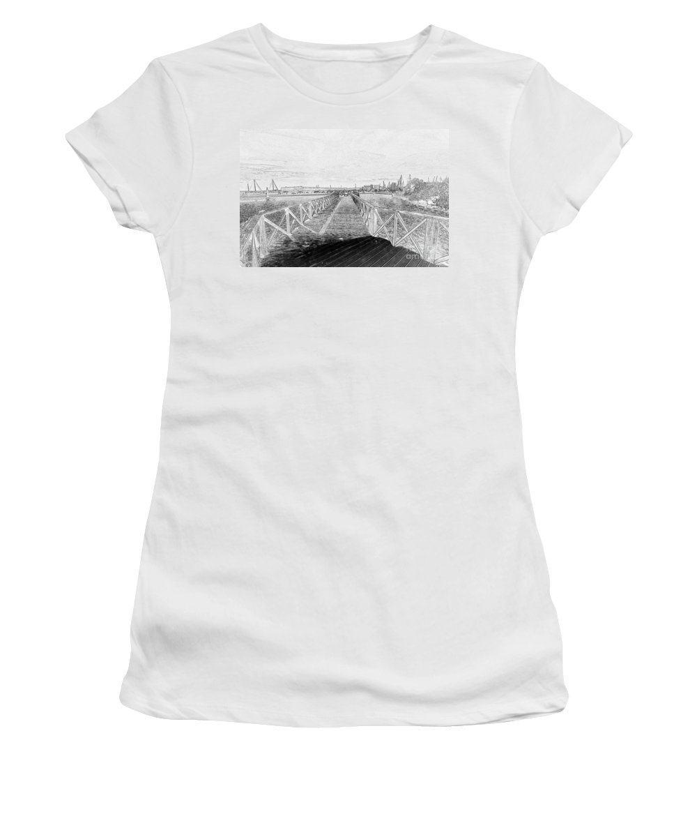 Cardiff Women's T-Shirt (Athletic Fit) featuring the photograph Boardwalk 1 by Steve Purnell