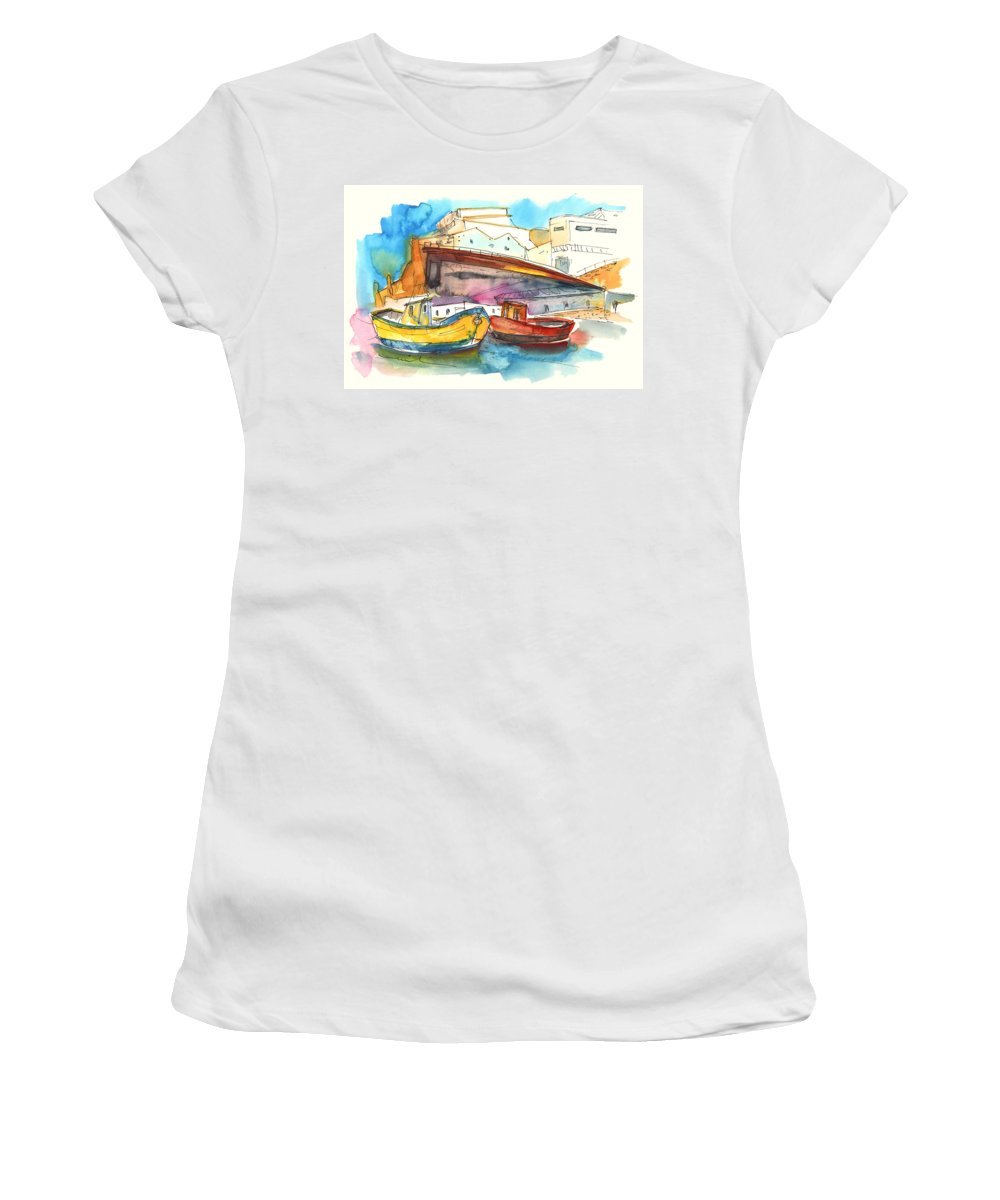 Portugal Art Women's T-Shirt (Athletic Fit) featuring the painting Boats In Ericeira In Portugal by Miki De Goodaboom