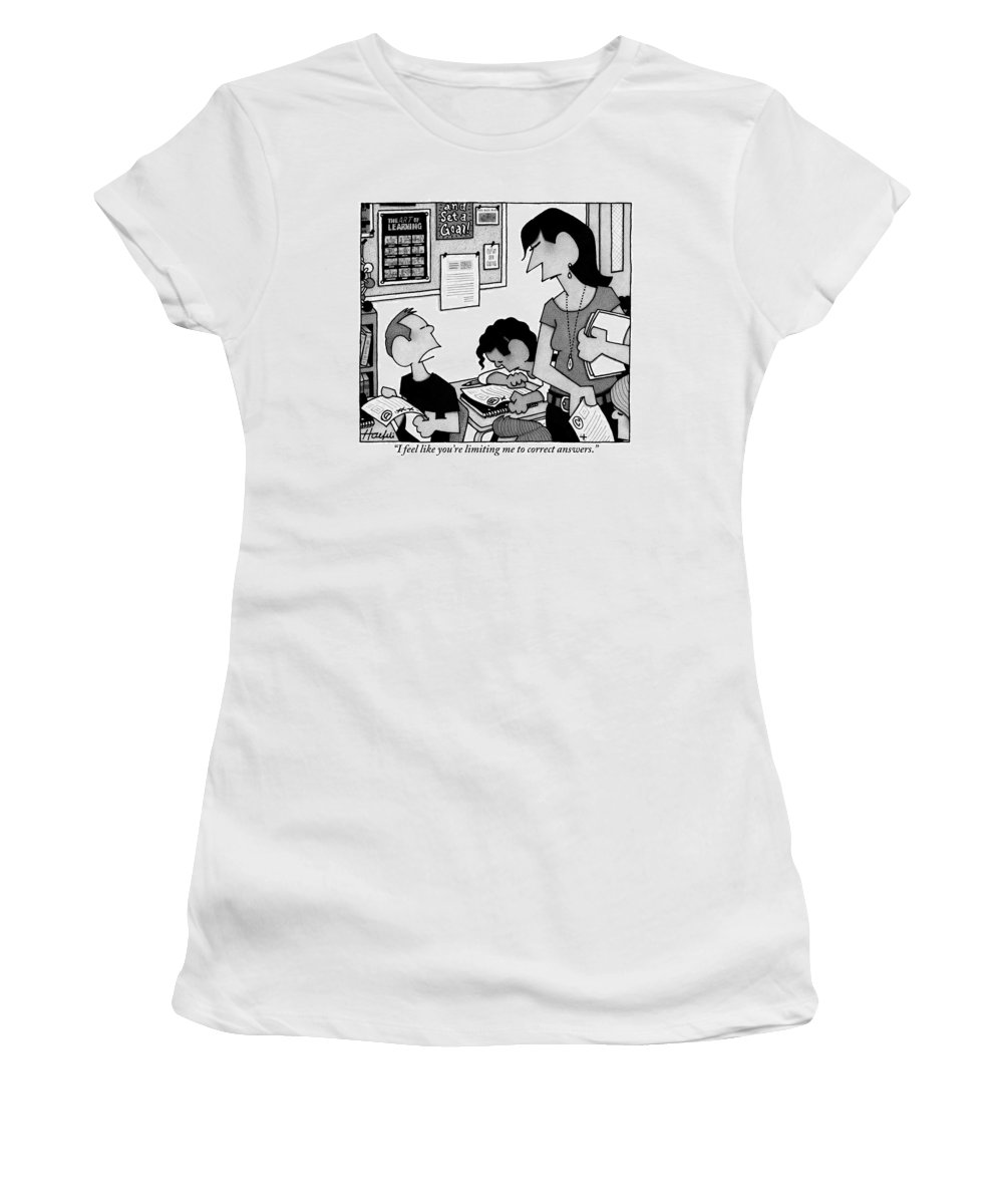 Teachers Women's T-Shirt featuring the drawing Boy Says To Teacher Who Has Given The Boy A D by William Haefeli