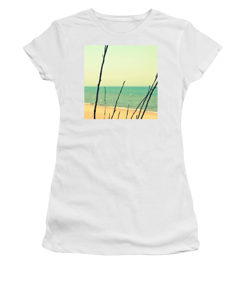 Beach Women's T-Shirt featuring the photograph Branches On The Beach by Michelle Calkins