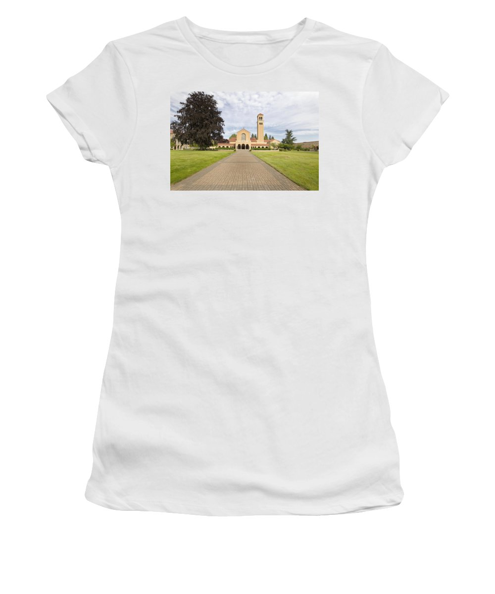 Path Women's T-Shirt featuring the photograph Brick Path To Mt Angel Abbey Church Entrance by Jit Lim