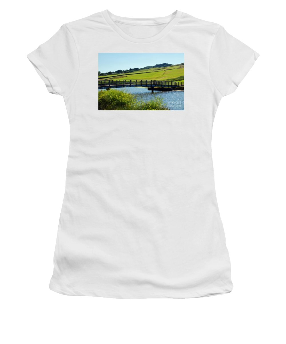 Charmouth Women's T-Shirt featuring the photograph Bridge At Charmouth by Susie Peek
