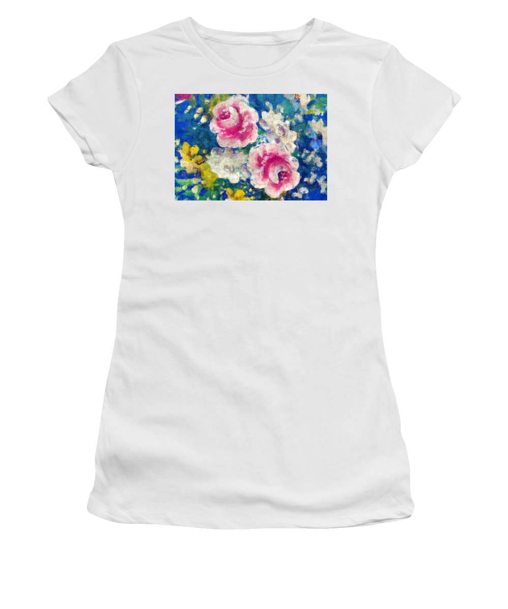 Floral Women's T-Shirt featuring the photograph Brightly Floral by Susan Leggett
