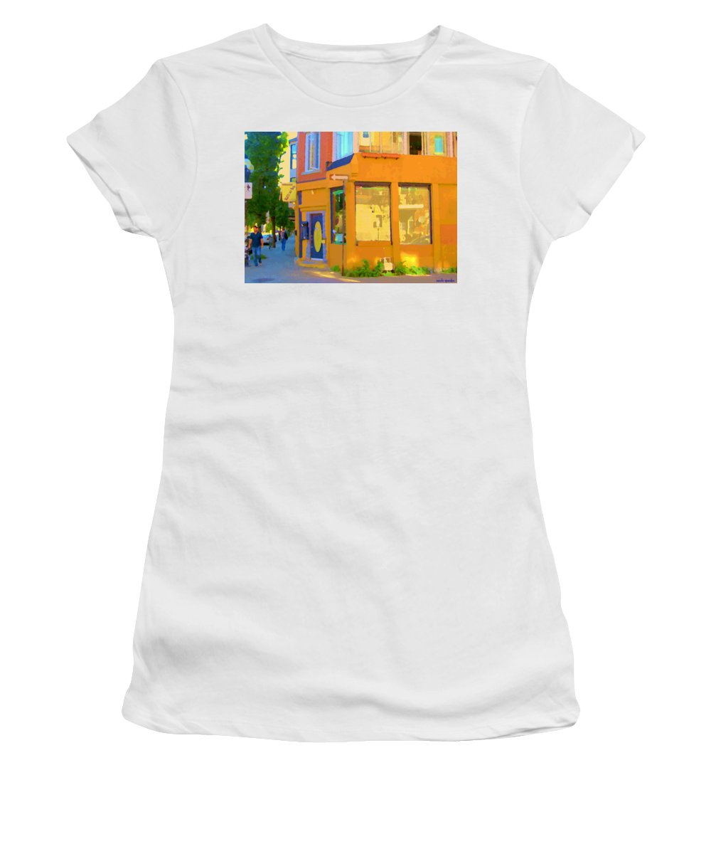 Montreal Women's T-Shirt (Athletic Fit) featuring the painting Bring Your Own Wine Restaurant Vents Du Sud Rue Roy Corner French Cafe Street Scene Carole Spandau by Carole Spandau