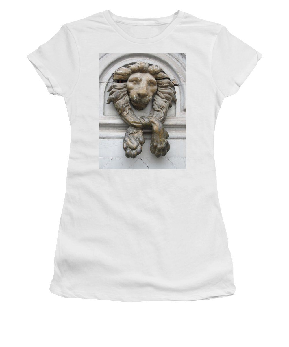 Lion Women's T-Shirt (Athletic Fit) featuring the photograph Bronze Lion by Pema Hou