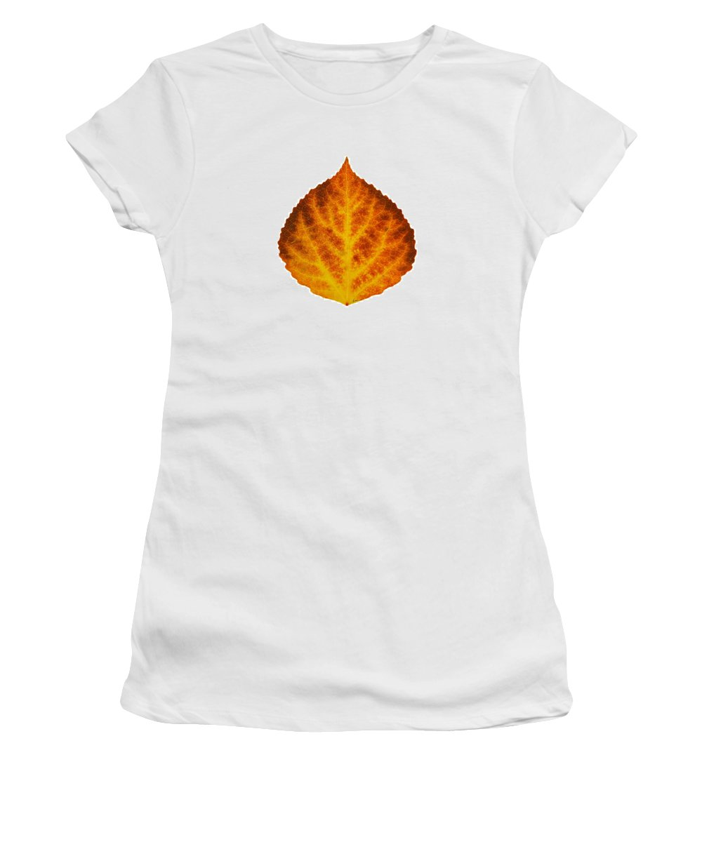 Aspen Leaf Women's T-Shirt featuring the digital art Brown Orange And Yellow Aspen Leaf 1 by Agustin Goba